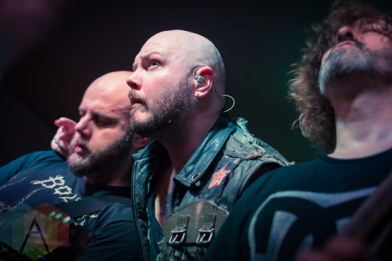 David Andersson (left), Björn Strid (center) and Sylvain Coudret (right) of Soilwork. (Photo: Scott Penner/Aesthetic Magazine Toronto)