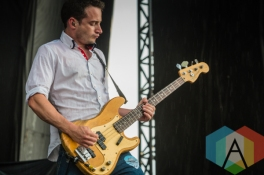 Tarrant Anderson performing with Frank Turner. (Photo: Scott Penner/Aesthetic Magazine Toronto)