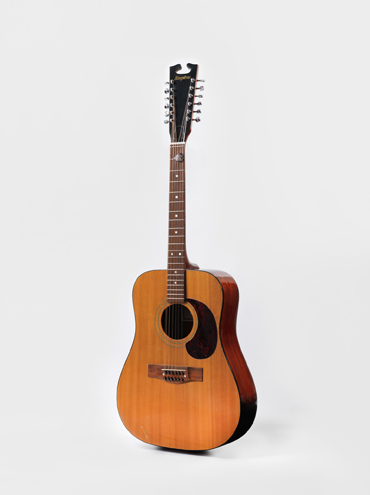 Acoustic guitar from the 'Space Oddity' era, 1969. (Courtesy of The David Bowie Archive. Image © Victoria and Albert Museum)