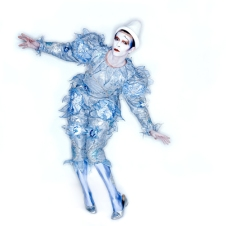 """Pierrot (or """"Blue Clown"""") costume, 1980. Designed by Natasha Korniloff for the """"Ashes to Ashes"""" video and Scary Monsters (and Super Creeps) album cover. (Photo: Brian Duffy. © Duffy Archive)"""