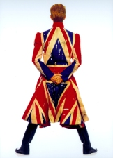 Original photography for the 'Earthling' album cover, 1997 Union Jack coat designed by Alexander McQueen in collaboration with David Bowie. (Photo: Frank W Ockenfels. © Frank W Ockenfels)
