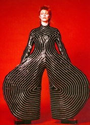 Striped bodysuit for the 'Aladdin Sane' tour, 1973. Design by Kansai Yamamoto. (Photo: Masayoshi Sukita. © Sukita / The David Bowie Archive)