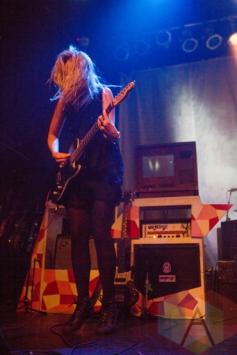 Emma Hughes performing with Kate Nash. (Photo: Lauren Garbutt/Aesthetic Magazine Toronto)