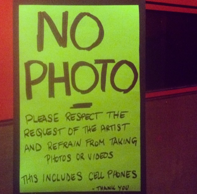 "There was a strict ""no photo"" policy at the Neutral Milk Hotel concert in Toronto last night. (Photo: Curtis Sindrey/Aesthetic Magazine Toronto)"