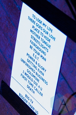 White Lies set-list. (Photo: Stephen McGill/Aesthetic Magazine Toronto)