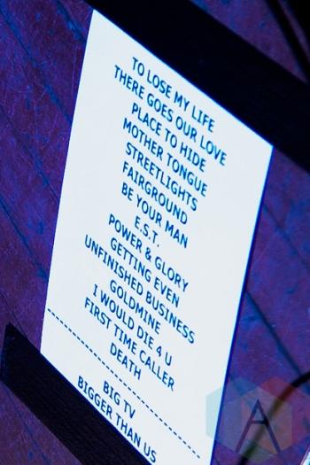 White Lies set-list. (Photo: Stephen McGill/Aesthetic Magazine Toronto)