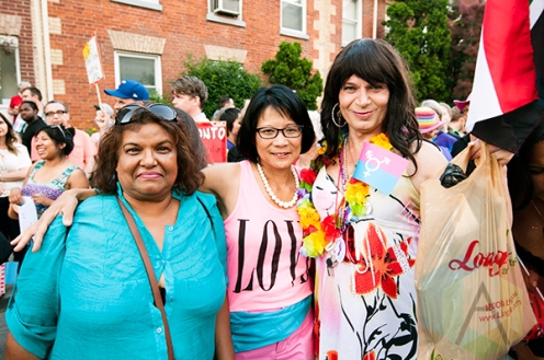 Trans Pride March supporters with Toronto mayoral candidate Olivia Chow. (Photo: Krystle Merrow/Aesthetic Magazine Toronto)