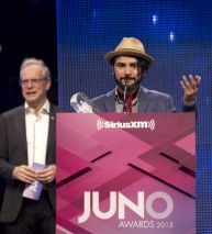 World Music Album of the Year winner Quique Escamilla at the 2015 JUNO Gala Dinner and Awards at the Hamilton Convention Centre. (Photo: CARAS)