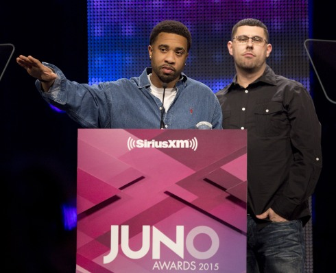 Rap Recording of the Year winner Naturally Born Strangers at the 2015 JUNO Gala Dinner and Awards at the Hamilton Convention Centre. (Photo: CARAS)