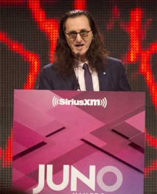 Allan Waters Humanitarian Award Recipient - RUSH, accepted by Geddy Lee at the 2015 JUNO Gala Dinner and Awards at the Hamilton Convention Centre. (Photo: CARAS)
