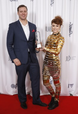 Video of the Year winner Kiesza at the 2015 JUNO Gala Dinner and Awards at the Hamilton Convention Centre. (Photo: CARAS)