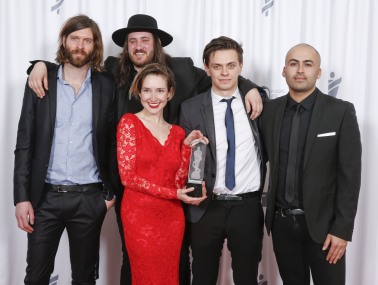 Alternative Album of the Year winner July Talk at the 2015 JUNO Gala Dinner and Awards at the Hamilton Convention Centre. (Photo: CARAS)
