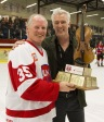NHL great Mark Napier receives the JUNO Cup from CARAS President and CEO Allan Reid at the 2015 JUNO Cup. (Photo: CARAS)