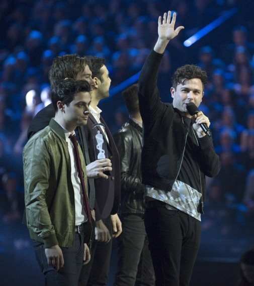 2015 JUNO Awards Rock Album of the Year award winner Arkells at FirstOntario Centre in Hamilton on March 15, 2015. (Photo: CARAS)