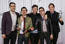 2015 JUNO Awards Rock Album of the Year award winner Arkells backstage at 2015 JUNO Awards at FirstOntario Centre in Hamilton on March 15, 2015. (Photo: CARAS)