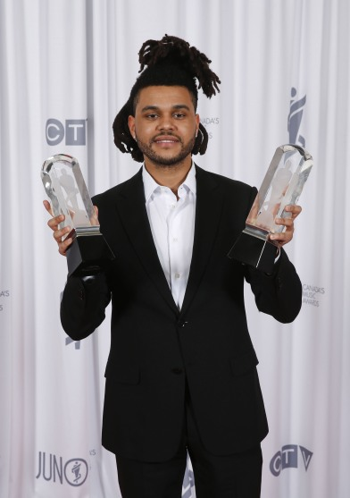 2015 JUNO Awards Artist of the Year The Weeknd backstage at 2015 JUNO Awards at FirstOntario Centre in Hamilton on March 15, 2015. (Photo: CARAS)