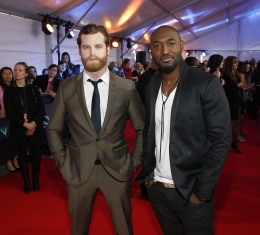 Jared Kesso and Adrian Holmes of 19-2 on the red carpet at 2015 JUNO Awards at FirstOntario Centre in Hamilton on March 15, 2015. (Photo: CARAS)