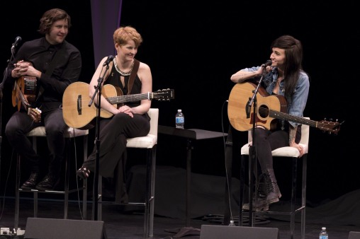 Daniel Ledwell, Jenn Grant and Lights at the 2015 JUNO Songwriters' Circle. (Photo: CARAS)