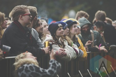 The crowd during Gus Gus' performance at Secret Solstice 2015 in Reykjavík, Iceland on June 19th, 2015. (Photo: Damien Gilbert/Aesthetic Magazine)
