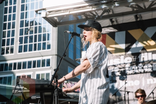 Little Scream performing at Yonge-Dundas Square in Toronto, ON on June 20, 2015 during NXNE 2015. (Photo: Amy Buck/Aesthetic Magazine)
