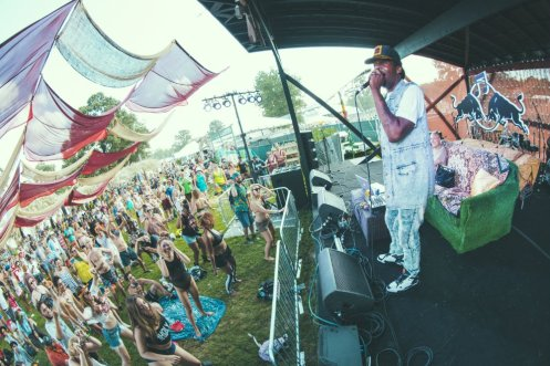 Big Freedia giving a speech at Red Bull Bass Camp at the Bonnaroo Music Festival in Manchester, TN on June 11, 2015. (Photo: Erik Voake)