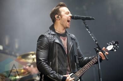 """Bullet For My Valentine performing at the Molson Amphitheatre in Toronto, ON on Aug. 8, 2015 during the """"Summer's Last Stand Tour"""". (Photo: Matt Klopot/Aesthetic Magazine)"""