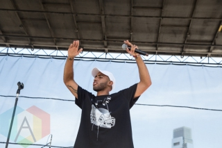 Bizzy Crook performing at the 2015 Budweiser Made in America Festival at Benjamin Franklin Parkway on Sept. 6, 2015 in Philadelphia, PA. (Photo: Jaime Schultz/Aesthetic Magazine)