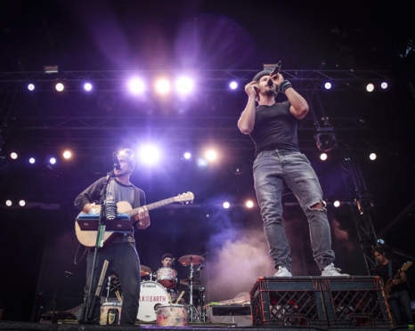 """Gianni """"Luminati"""" Nicassio and Ryan Marshall of Walk Off The Earth performing at CityFolk 2015 at Lansdowne Park in Ottawa, ON on Sept. 17, 2015. (Photo: Mark Horton)"""