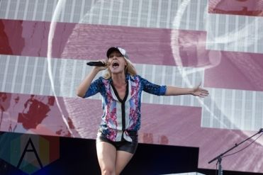 Emily Haines of Metric performing at the 2015 Budweiser Made in America Festival at Benjamin Franklin Parkway on Sept. 6, 2015 in Philadelphia, PA. (Photo: Jaime Schultz/Aesthetic Magazine)