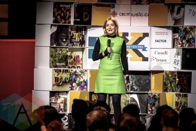 Katie Stelmanis of Austra at the 2015 Polaris Music Prize gala in Toronto, ON on Sept 21, 2015. (Photo: Angelo Marchini/Aesthetic Magazine)