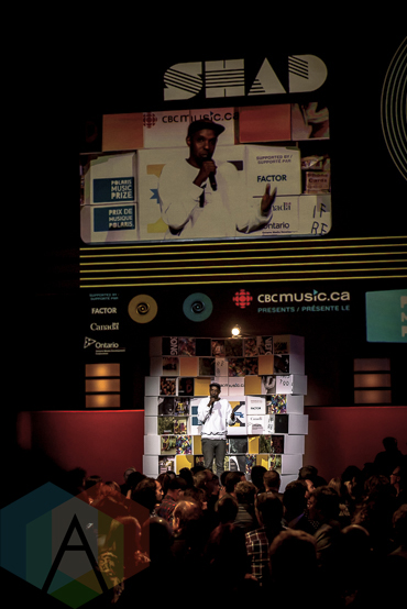 Shad at the 2015 Polaris Music Prize gala in Toronto, ON on Sept 21, 2015. (Photo: Angelo Marchini/Aesthetic Magazine)