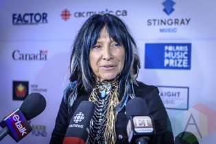 Buffy Sainte-Marie at the 2015 Polaris Music Prize gala in Toronto, ON on Sept 21, 2015. (Photo: Angelo Marchini/Aesthetic Magazine)