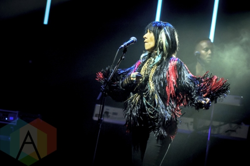 Buffy Sainte-Marie performing at the 2015 Polaris Music Prize gala in Toronto, ON on Sept 21, 2015. (Photo: Angelo Marchini/Aesthetic Magazine)
