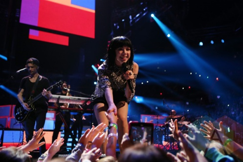 Carly Rae Jepsen performing at We Day Toronto 2015 at the Air Canada Centre in Toronto on Oct. 1, 2015. (Photo: Chris Young/The Canadian Press)