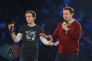 Craig and Marc Kielburger at We Day Toronto 2015 at the Air Canada Centre in Toronto on Oct. 1, 2015. (Photo: Chris Young/The Canadian Press)