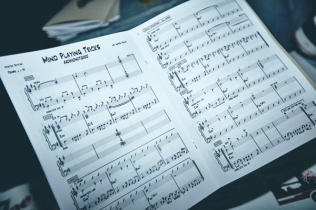 """BadBadNotGood sheet music for """"Sour Soul"""" at the Red Bull Sound Select Presents: 30 Days in LA at The Tower Theatre in Los Angeles on November 20, 2015. (Photo: Koury Angelo/Red Bull)"""