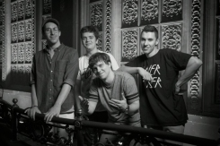 BadBadNotGood posing backstage for a portrait at the Red Bull Sound Select Presents: 30 Days in LA at The Tower Theatre in Los Angeles on November 20, 2015. (Photo: Drew Gurian/Red Bull)