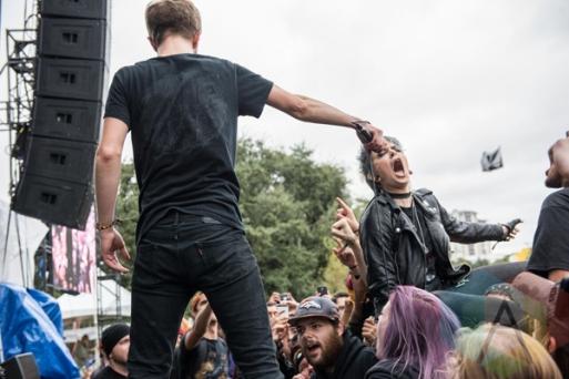 La Dispute performing at Fun Fun Fun Fest in Austin, Texas on November 7, 2015. (Photo: Reagan Hackleman)