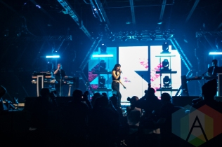 Lauren Mayberry of CHVRCHES performing at the Donald Stephens Convention Center in Chicago as part of Reaction NYE 2015. (Photo: Kari Terzino/Aesthetic Magazine)
