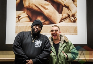 Run The Jewels pose backstage for a portrait at the Donald Stephens Convention Center in Chicago as part of Reaction NYE 2015. (Photo: Kari Terzino/Aesthetic Magazine)