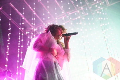 Purity Ring performing at the 2016 Laneway Festival in Sydney, Australia on February 7, 2016. (Photo: Gwendolyn Lee/Aesthetic Magazine)
