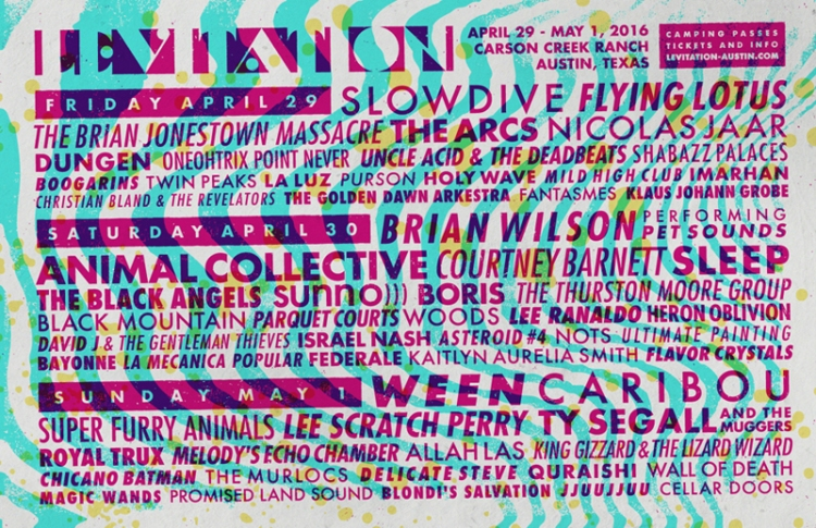 Levitation 2016 will feature performances by Brian Wilson, Slowdive, Flying Lotus, Ween, and more.