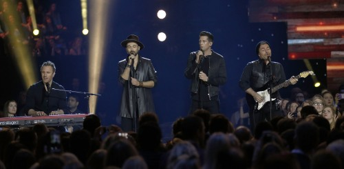 "The Tenors perform ""Stand Tall"" at the 2016 JUNO Awards at Scotiabank Saddledome in Calgary on April 3, 2016. (Photo: CARAS)"