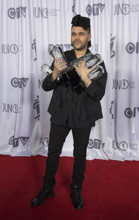 The Weeknd at the 2016 JUNO Awards at Scotiabank Saddledome in Calgary on April 3, 2016. (Photo: CARAS)