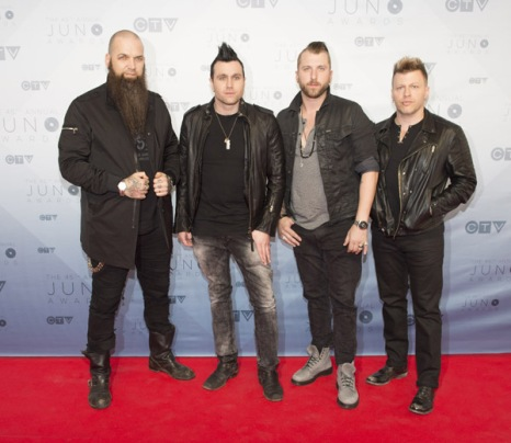 Three Days Grace on the red carpet at the 2016 JUNO Awards at Scotiabank Saddledome in Calgary on April 3, 2016. (Photo: CARAS)