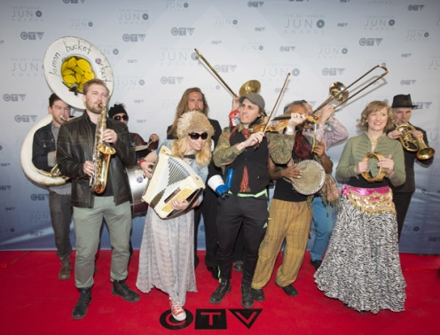 Lemon Bucket Orkestra on the red carpet at the 2016 JUNO Awards at Scotiabank Saddledome in Calgary on April 3, 2016. (Photo: CARAS)