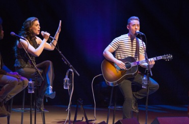 Tareya Green and Mike Robins of Autumn Hill performing at the JUNO Songwriters' Circle at the Jack Singer Concert Hall in Calgary on April 3, 2016. (Photo: CARAS)