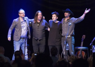L-R Alan Doyle, Matthew Good, Mia Mae and Paul Brandt performing at the JUNO Songwriters' Circle at the Jack Singer Concert Hall in Calgary on April 3, 2016. (Photo: CARAS)