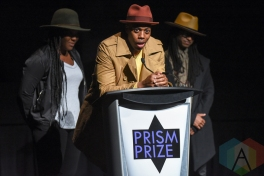 Cazhhmere, Kardinal Offishall and RT present the Special Achievement award during the 2016 Prism Prize gala at the TIFF Lightbox in Toronto on May 15, 2016. (Photo: Jamie Espinoza/Aesthetic Magazine)