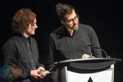 Recipient of the Grand Prize, Philip Sportel and Kalle Mattson, during the 2016 Prism Prize gala at the TIFF Lightbox in Toronto on May 15, 2016. (Photo: Jamie Espinoza/Aesthetic Magazine)